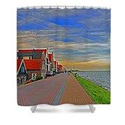 Sunset Over Volendam Shower Curtain