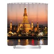 Sunset Over Wat Arun Temple - Bangkok Shower Curtain