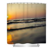 Sunset Over Waves Shower Curtain