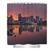 Sunset Over Willamette River Along Portland Waterfront Shower Curtain