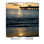 Sunset Pier Shower Curtain by Carey Chen