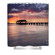 Sunset Pier Shower Curtain by Mike  Dawson