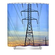 Sunset Power Lines Shower Curtain