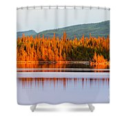 Sunset Reflections On Boreal Forest Lake In Yukon Shower Curtain