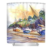 Sunset Sail On Brittany Beach  Shower Curtain