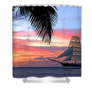 Sunset Sailboat Filtered Shower Curtain