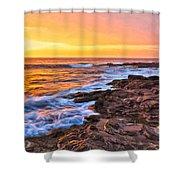 Sunset Shore Break Shower Curtain