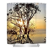 Sunset Silhouette And Reflections Shower Curtain