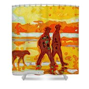Sunset Silhouette Carmel Beach With Dog Shower Curtain