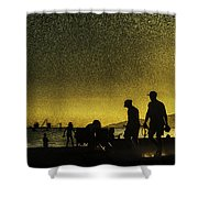 Sunset Silhouette Of People At The Beach Shower Curtain