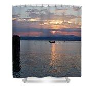 Sunset. Sirmione. Lago Di Garda Shower Curtain