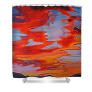Ruby Red Sunset Shower Curtain