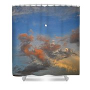 Sunset Sky With Gibbous Moon And Clouds Usa Shower Curtain