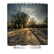 Sunset Snow Trees Shower Curtain