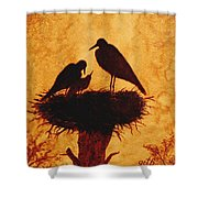 Sunset Stork Family Silhouettes Shower Curtain