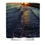 Sunset Surf Shower Curtain by Perry Webster