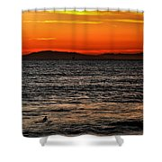 Sunset Surfer Shower Curtain