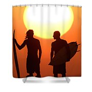Sunset Surfers Shower Curtain