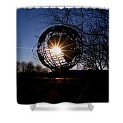 Sunset Through The Unisphere Shower Curtain