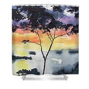 Sunset Tree Koh Chang Thailand Shower Curtain