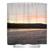 Sunset Twilight Over Taiga At Yukon River Canada Shower Curtain