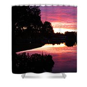 Sunset With Reflection Shower Curtain