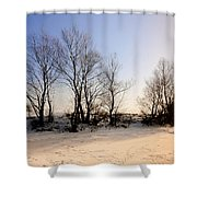 Sunset With Star And Snow Shower Curtain