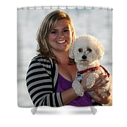 Sunset With Young American Woman And Poodle Shower Curtain