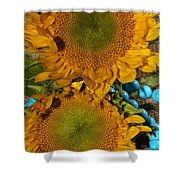 Sunshine And Turquoise  Shower Curtain