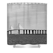 Sunshine Skyway Bridge Bw II Tampa Bay Florida Usa Shower Curtain