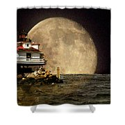 Super Moon Lighthouse Shower Curtain