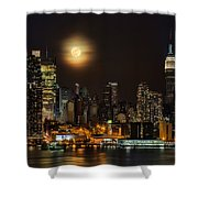 Super Moon Over Nyc Shower Curtain by Susan Candelario