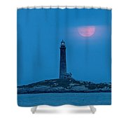 Super Moon Over Thacher Twin Lights Shower Curtain