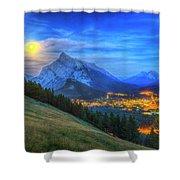 Super Moonrise Over Banff Shower Curtain