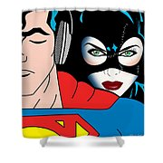Superman And Catwoman  Shower Curtain by Mark Ashkenazi