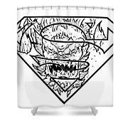 Superman And Doomsday Pen And Ink Shower Curtain