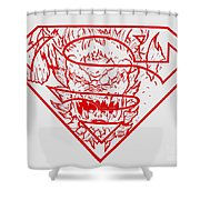 Superman And Doomsday Red Shower Curtain