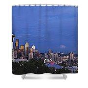Supermoon Moonrise Over Seattle Skyline Shower Curtain