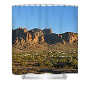 Superstition Mountain In The Evening Sun Shower Curtain