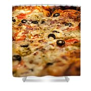 Supreme Meat Works Pizza  Sliced And Ready To Eat Shower Curtain