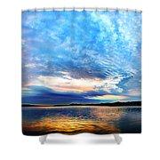 Sureal Pewaukee Lake Sunrise Shower Curtain
