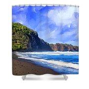 Surf At Pololu Valley Big Island Shower Curtain