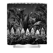 Surf Board Fence Maui Hawaii Black And White Shower Curtain by Edward Fielding