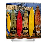 Surf Board Fence Maui Hawaii Shower Curtain