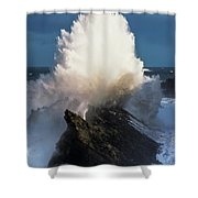 Surf Erupts On The Rocks At Shore Acres Shower Curtain