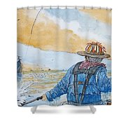 Surf Trout Fishing Shower Curtain