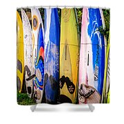 Surfboard Fence Maui Hawaii Shower Curtain by Edward Fielding