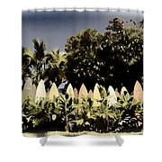 Surfboard Fence - Old Postcard Shower Curtain