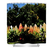 Surfboard Fence - Right Side Shower Curtain