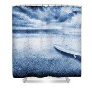 Surfboard On The Beach Shower Curtain